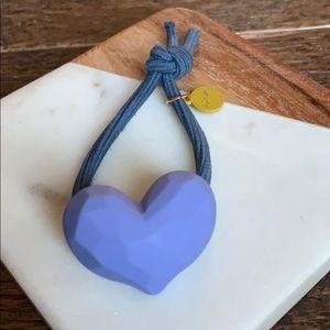 Lilac heart hair tie